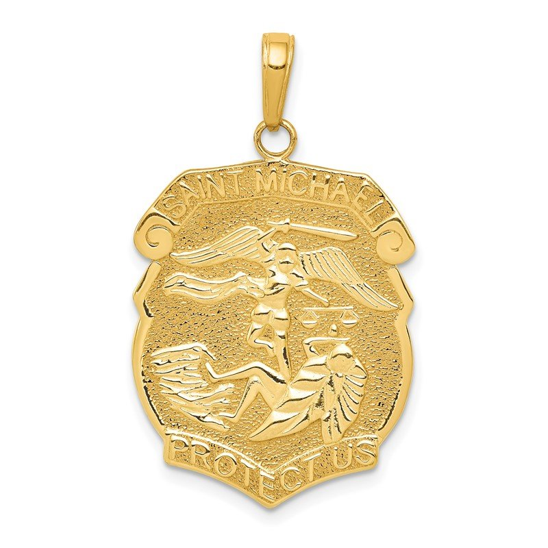 Quality Gold 14K Gold Polished Large Saint Michael Protect Us Medal Pendant