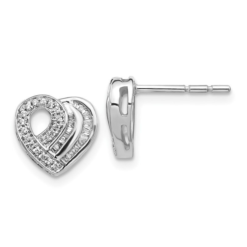 Lester Martin Online Collection 14k White Gold Diamond Heart Post Earrings