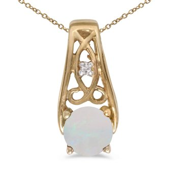 14k Yellow Gold Round Opal And Diamond Pendant