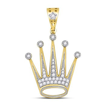10kt Yellow Gold Mens Round Diamond Crown King Charm Pendant 1/2 Cttw
