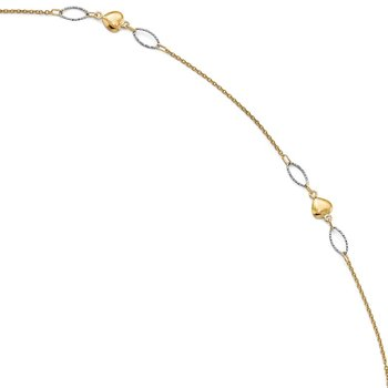 Leslie's 14k Two-tone Polished & D/C with 1in ext. Anklet