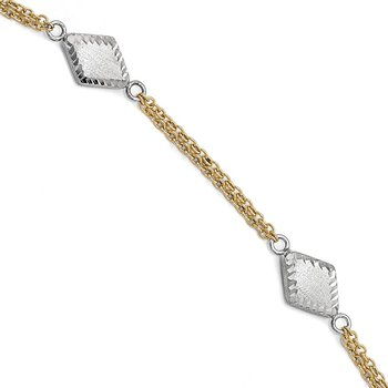 Leslie's 14k Two-tone Satin and Diamond-cut w/.5in ext. Bracelet
