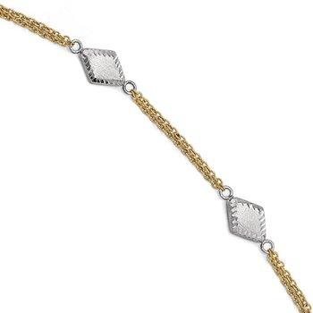 Leslie's 14K Two-tone Satin and D/C w/.5in ext. Bracelet