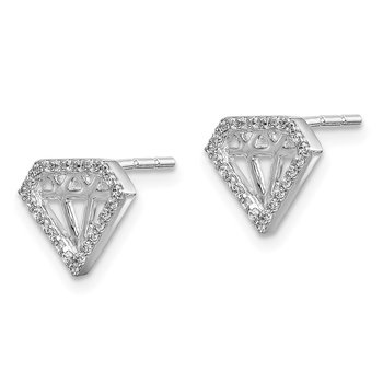 14k White Gold Diamond Gemstone-Shaped Earrings