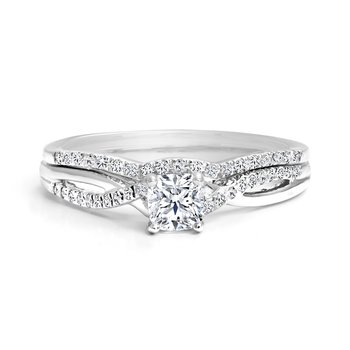 Ideal Cushion Diamond Engagement Ring with Matching Wedding Band