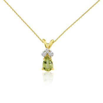 14k Yellow Gold Peridot  Pear Pendant with Diamonds