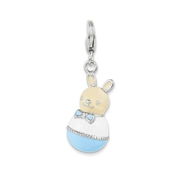 Sterling Silver Rhodium-plated w/Lobster Clasp Enameled Bunny Charm