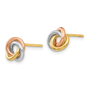 14k Tri-color Twisted Knot Post Earrings