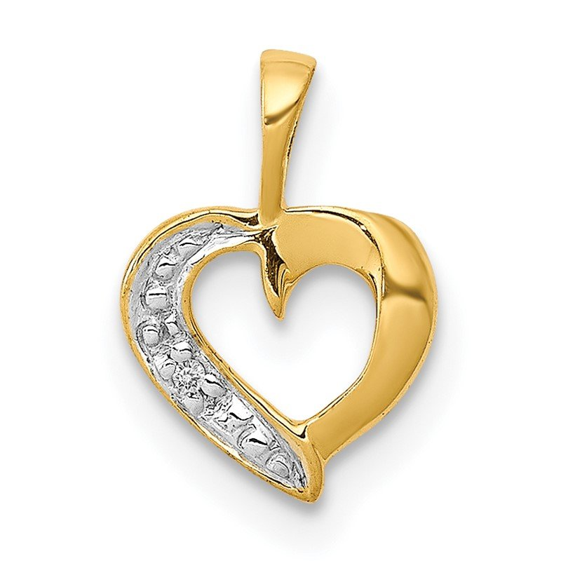Quality Gold 14k .01ct. Diamond Heart Pendant