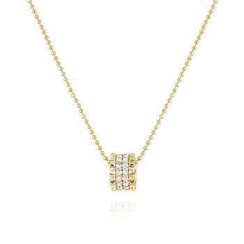 Diamond Pyramid Spike Slider Necklace Set in 14 Kt. Gold