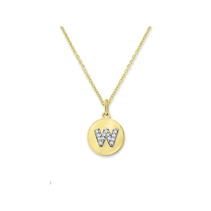 "KC Designs Diamond Mini Disc Initial ""W"" Necklace in 14k Yellow Gold with 13 Diamonds weighing .05ct tw."