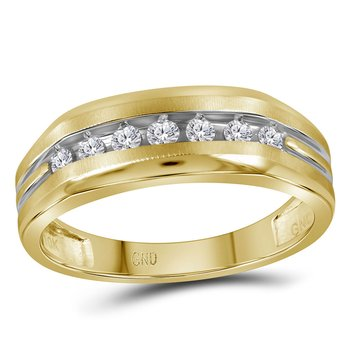 10kt Two-tone Yellow Gold Mens Round Diamond Grooved Wedding Band Ring 1/4 Cttw