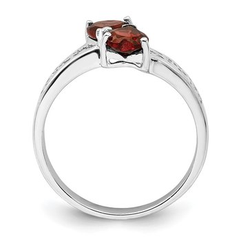 Sterling Silver Rhodium Garnet Heart Ring