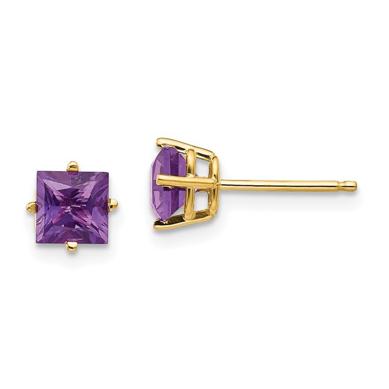 JC Sipe Essentials 14k 5mm Princess Cut Amethyst Earrings