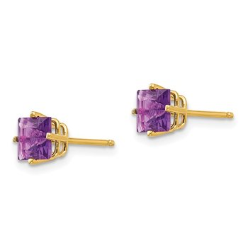 14k 5mm Princess Cut Amethyst Earrings