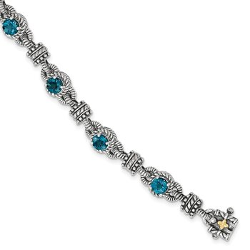 Sterling Silver w/14k London Blue Topaz Bracelet