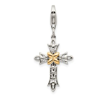 Sterling Silver w/14k 3-D Antiqued Cross w/Lobster Clasp Charm