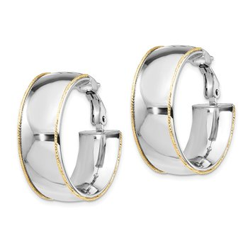 14k WG 9.5mm w/ YG D/C wire Accent Round Hoop Omega Back Earrings