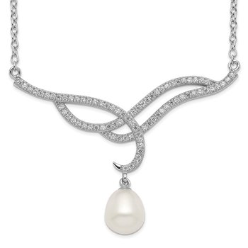 Sterling Silver Rhod-plat 8-9mm White Rice FWC Pearl CZ Necklace
