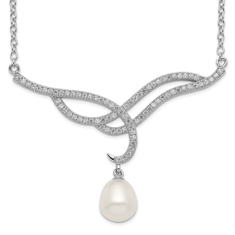 Quality Gold Sterling Silver Rhodium-plated 8-9mm White Rice FWC Pearl CZ Necklace