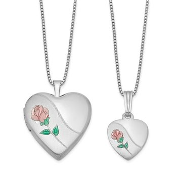 Sterling Silver Rhodium-plated Polished and Satin Rose Heart Locket & Penda