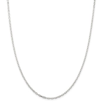 Sterling Silver 2.2mm Diamond-cut Long Link Cable Chain