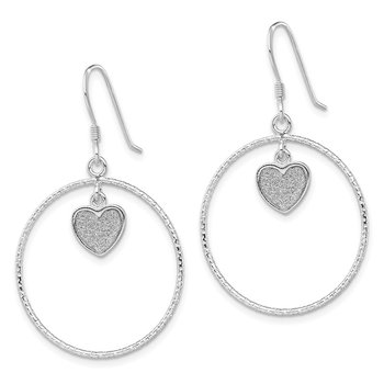 Sterling Silver RH-plate D/C Enamel Glitter Fabric Heart Earrings