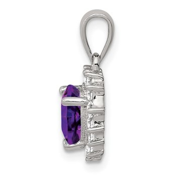 Sterling Silver Amethyst & CZ Pendant