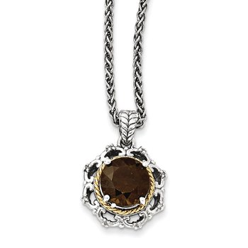 Sterling Silver w/14k Antiqued Smoky Quartz and Diamond Necklace