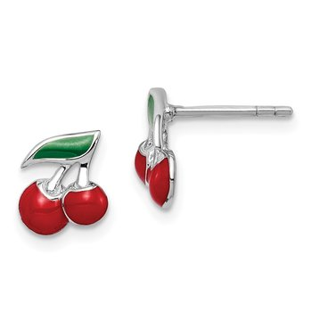 Sterling Silver Rhodium-plated Childs Enameled Cherry Post Earrings