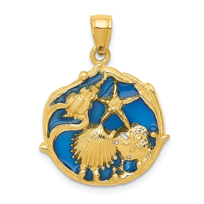 Quality Gold 14K Blue Enameled Shell Cluster Pendant