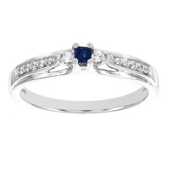 10k White Gold Princess-cut Sapphire Center and 1/10ct TDW Diamond Promise Ring