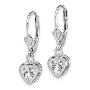 Sterling Silver Rhodium 6mm Heart CZ Leverback Earrings