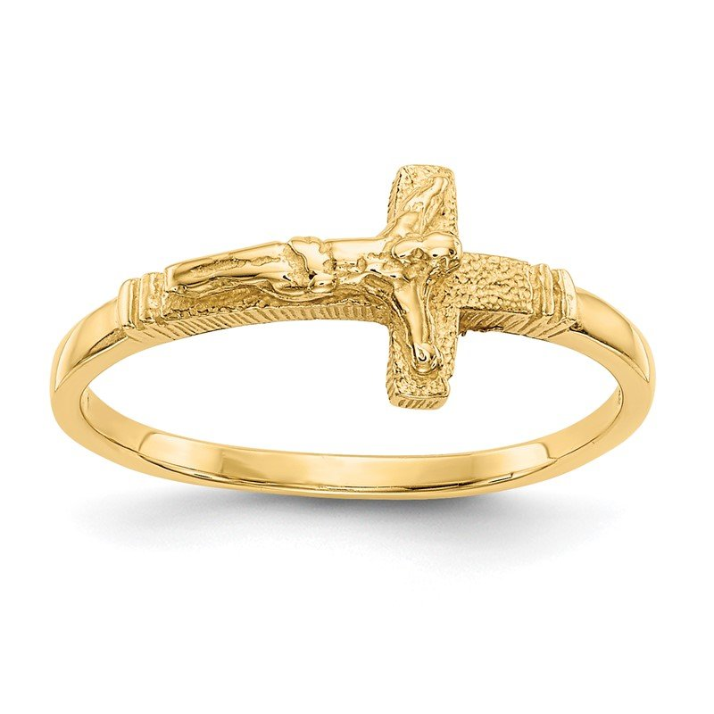 Quality Gold 14K Satin Finish Childs Crucifix Ring