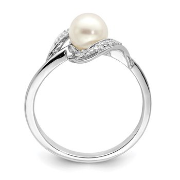 Sterling Silver Rhodium Plated Diamond and FW Cultured Pearl Ring