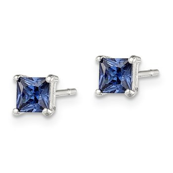 Sterling Silver Blue CZ Post Earrings