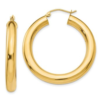 14k Yellow Gold Polished 5mm Lightweight Hoop Earrings