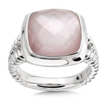 Sterling Silver White Quartz Dyed Rose Mother of Pearl Fusion Ring