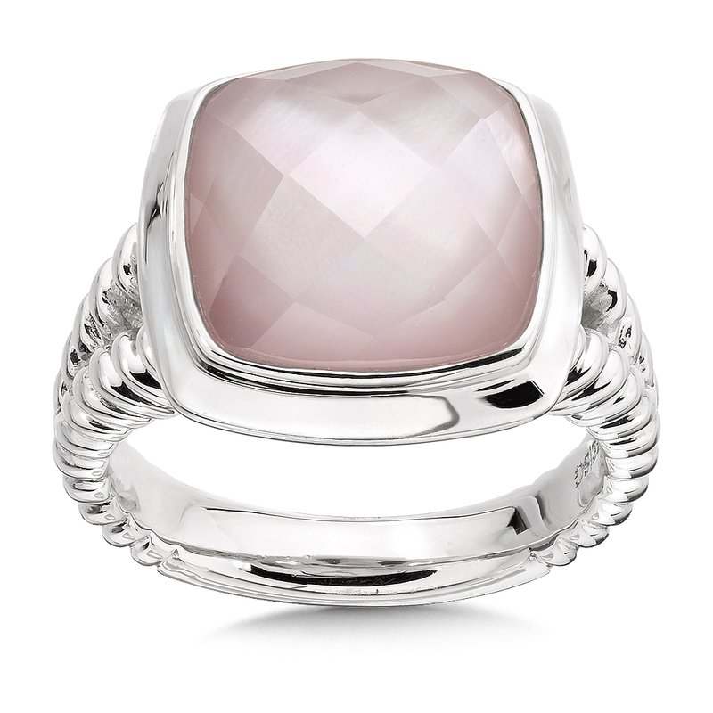 Colore Sg Sterling Silver White Quartz Dyed Rose Mother of Pearl Fusion Ring