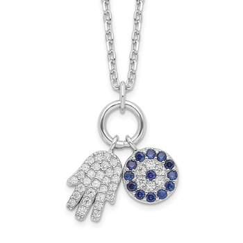 Sterling Silver Rhod-plated CZ Eye and Hamsa Charm Necklace