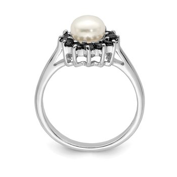 Sterling Silver Rhod 6mm FW Cultured Button Pearl & Sapphire Ring