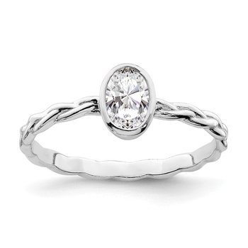 Sterling Silver Rhodium Plated CZ Braided Ring