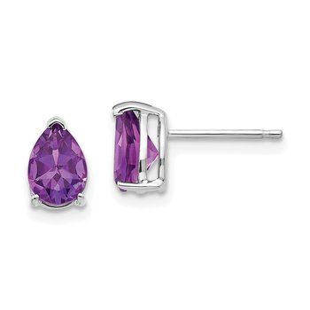 14k White Gold 7x5mm Pear Amethyst Earrings