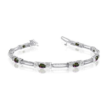10k White Gold Natural Mystic-Topaz And Diamond Tennis Bracelet