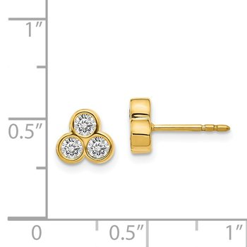 14k White Gold 3-stone Diamond Earrings