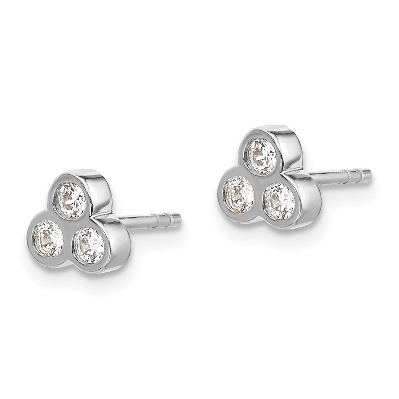 Quality Gold 14k White Gold 3-stone Diamond Earrings