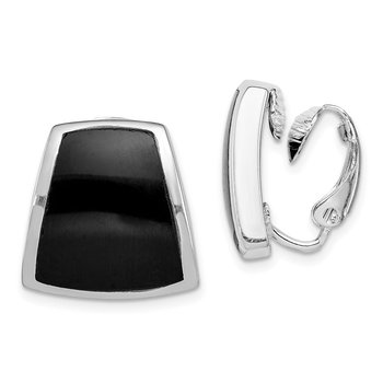 Sterling Silver Rhodium-plated Onyx Non-pierced Earrings
