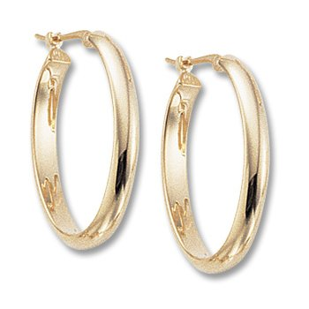 14kt Yel Oval Hoop Earrings