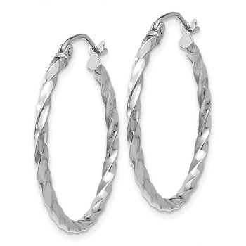 14k WG Twist Polished Hoop Earring