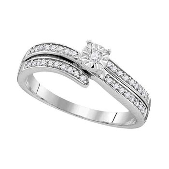 Sterling Silver Womens Round Diamond Solitaire Bridal Wedding Engagement Ring 1/5 Cttw